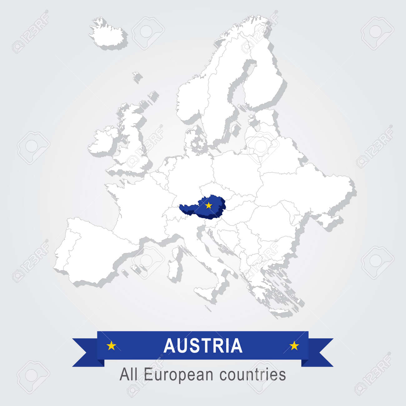 Austria. Europe Administrative Map. Country In Continent Stock Vector    53079951