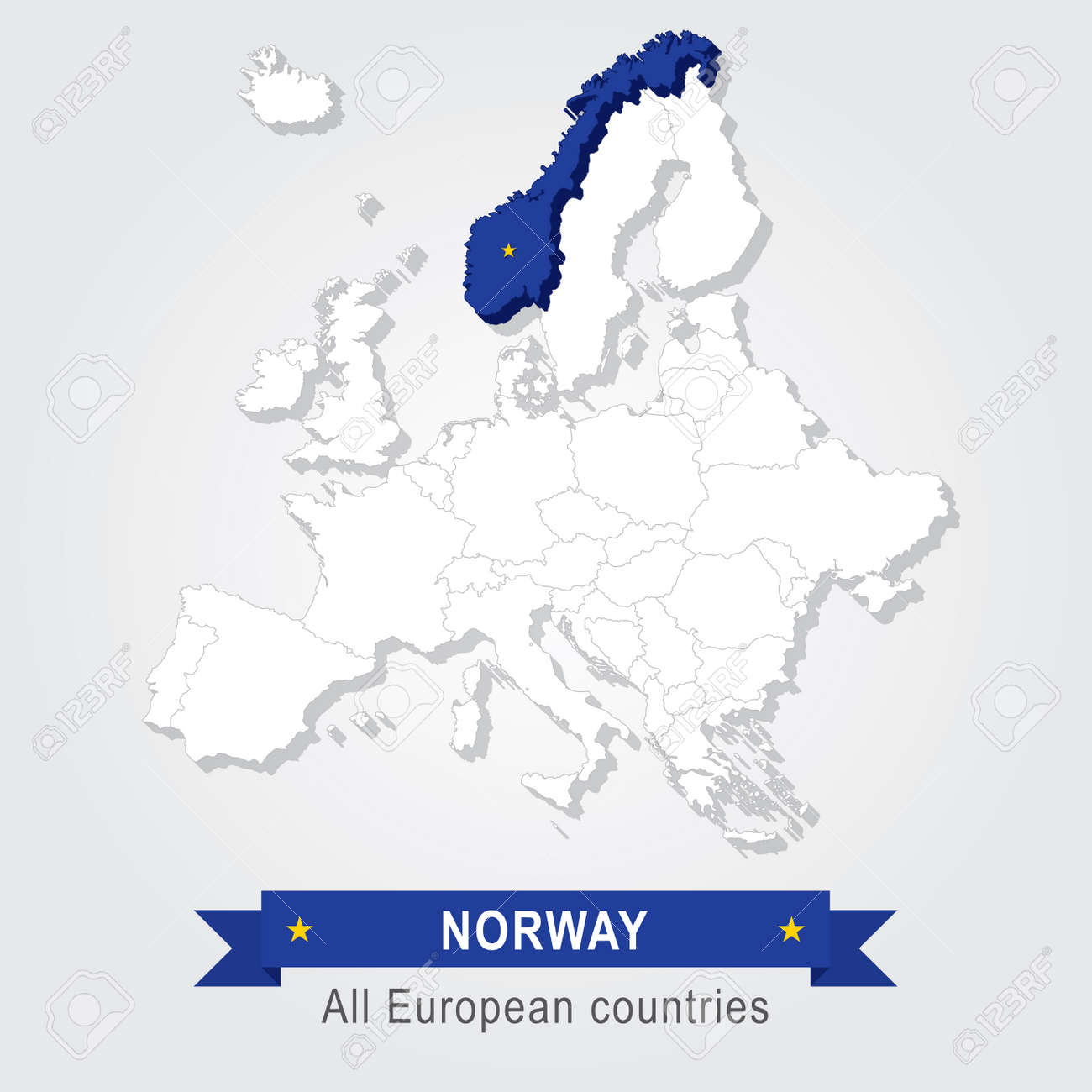 Norway On Europe Map.Norway Europe Administrative Map Royalty Free Cliparts Vectors