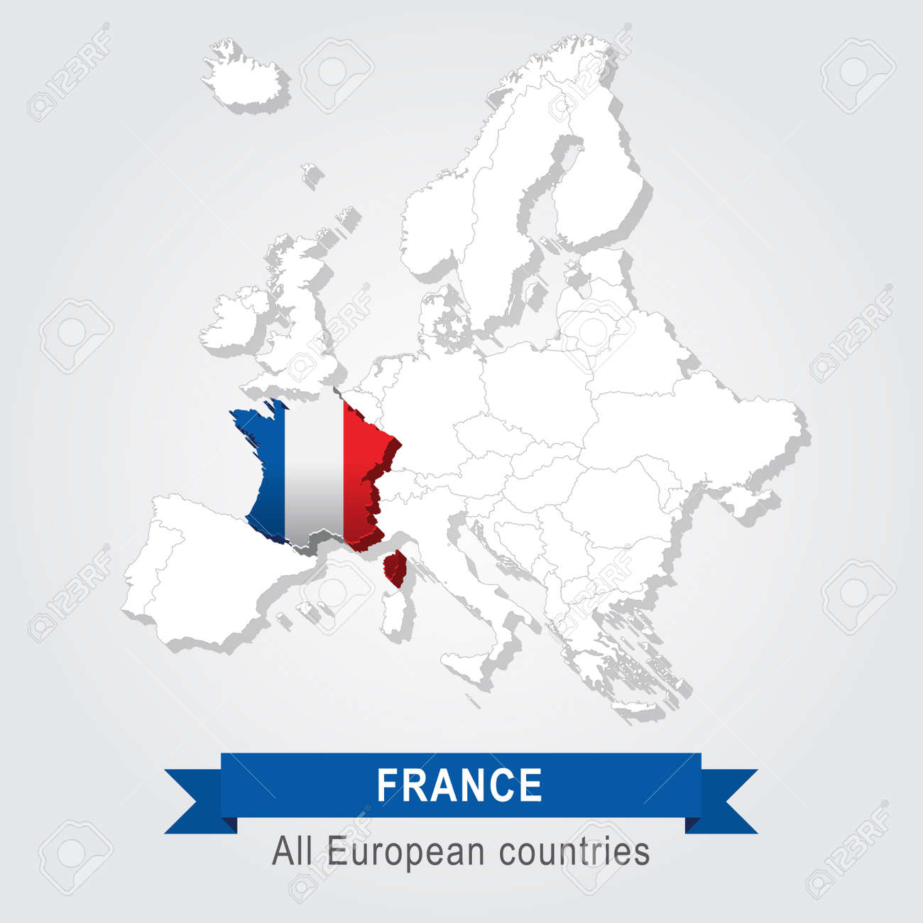 France Europe Administrative Map Flag Version Royalty Free