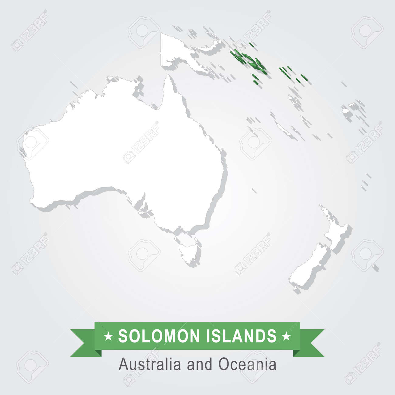Solomon Islands Australia And Oceania Map Green Version Royalty
