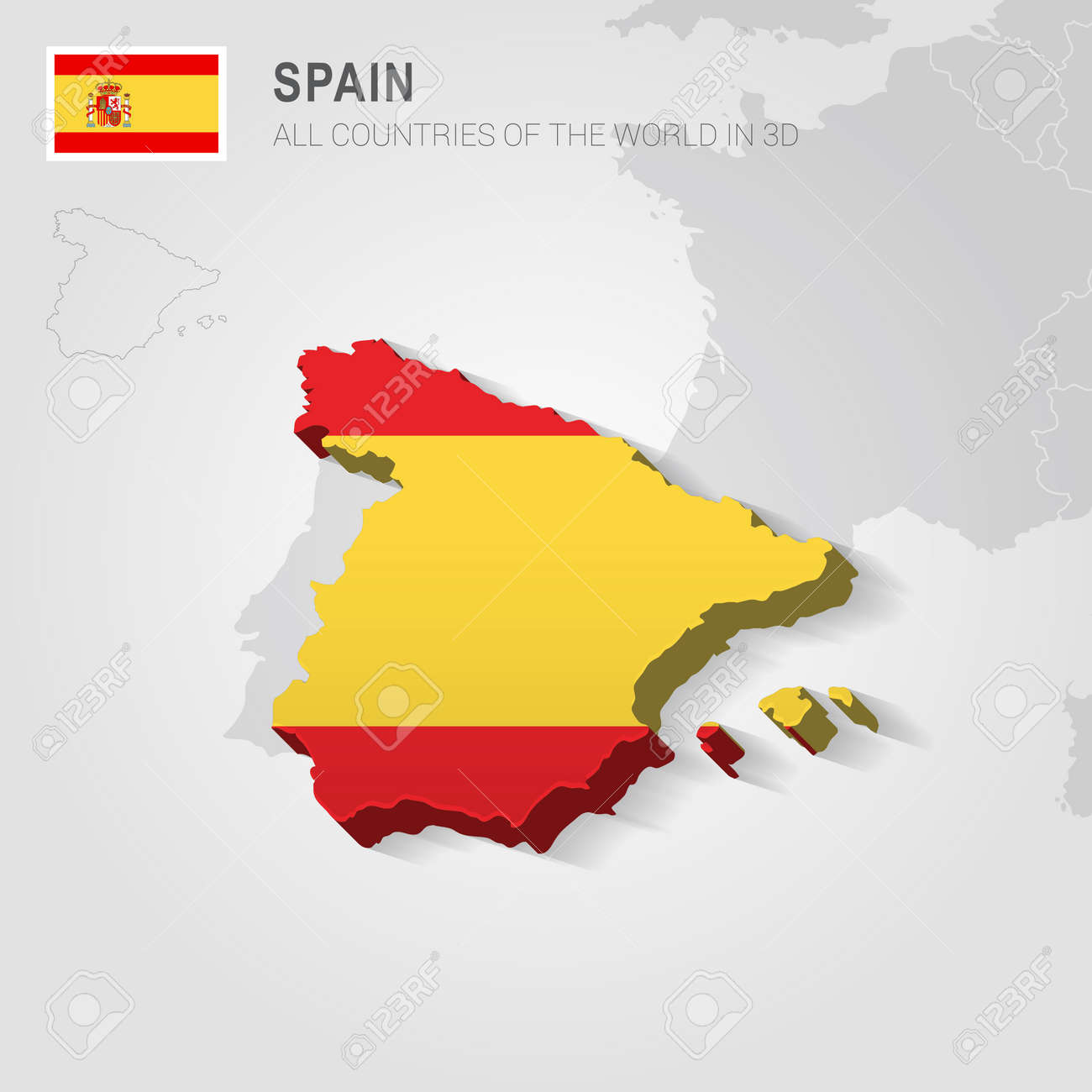 spain and neighboring countries europe administrative map stock vector 66728352