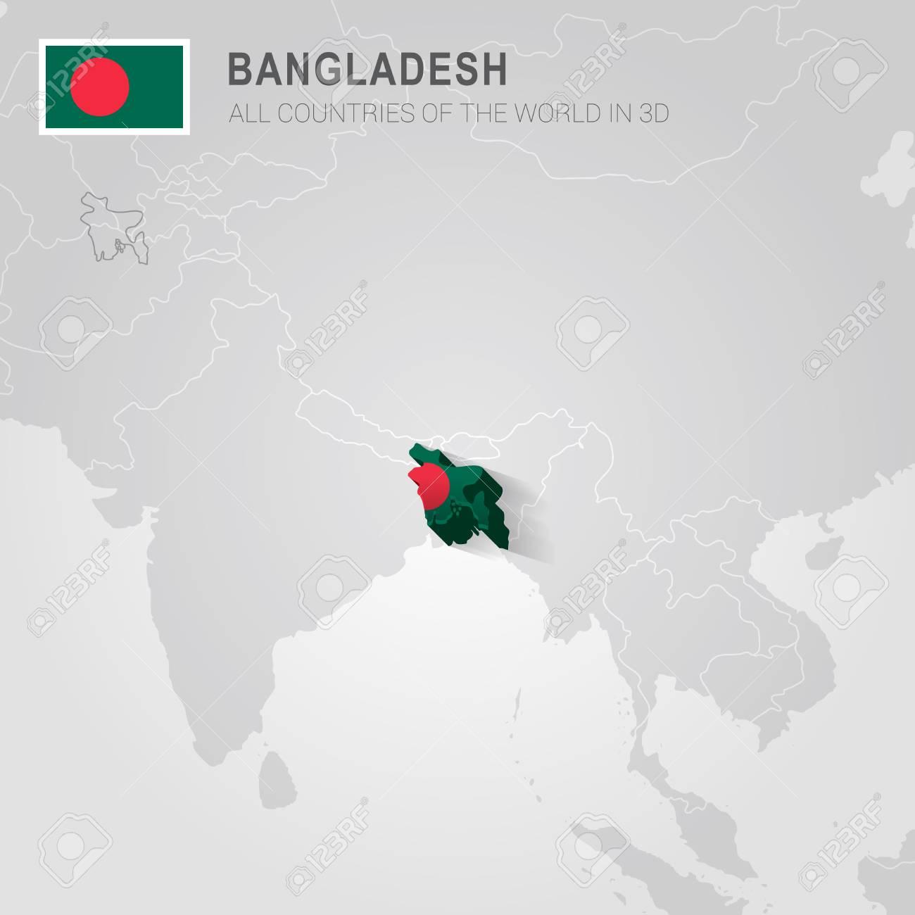 Bangladesh And Neighboring Countries. Asia Administrative Map ...