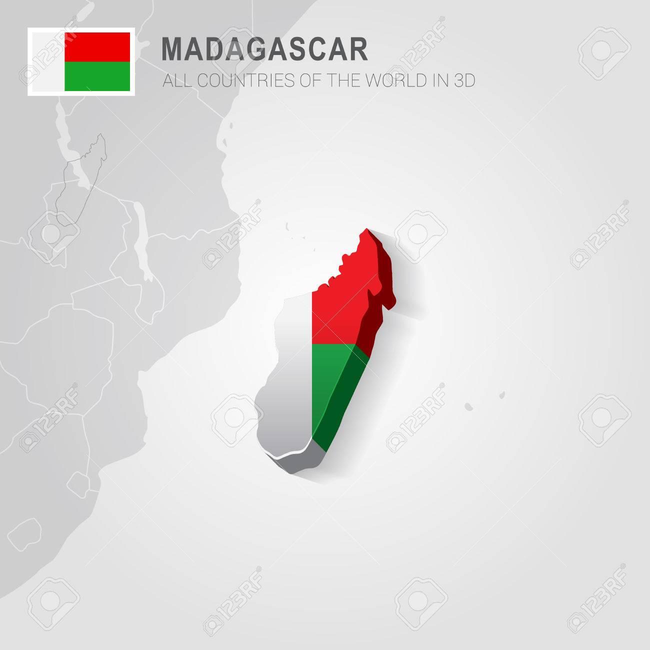 Carte Grise Madagascar.Madagascar Peint Avec Un Drapeau Dessine Sur Une Carte Grise