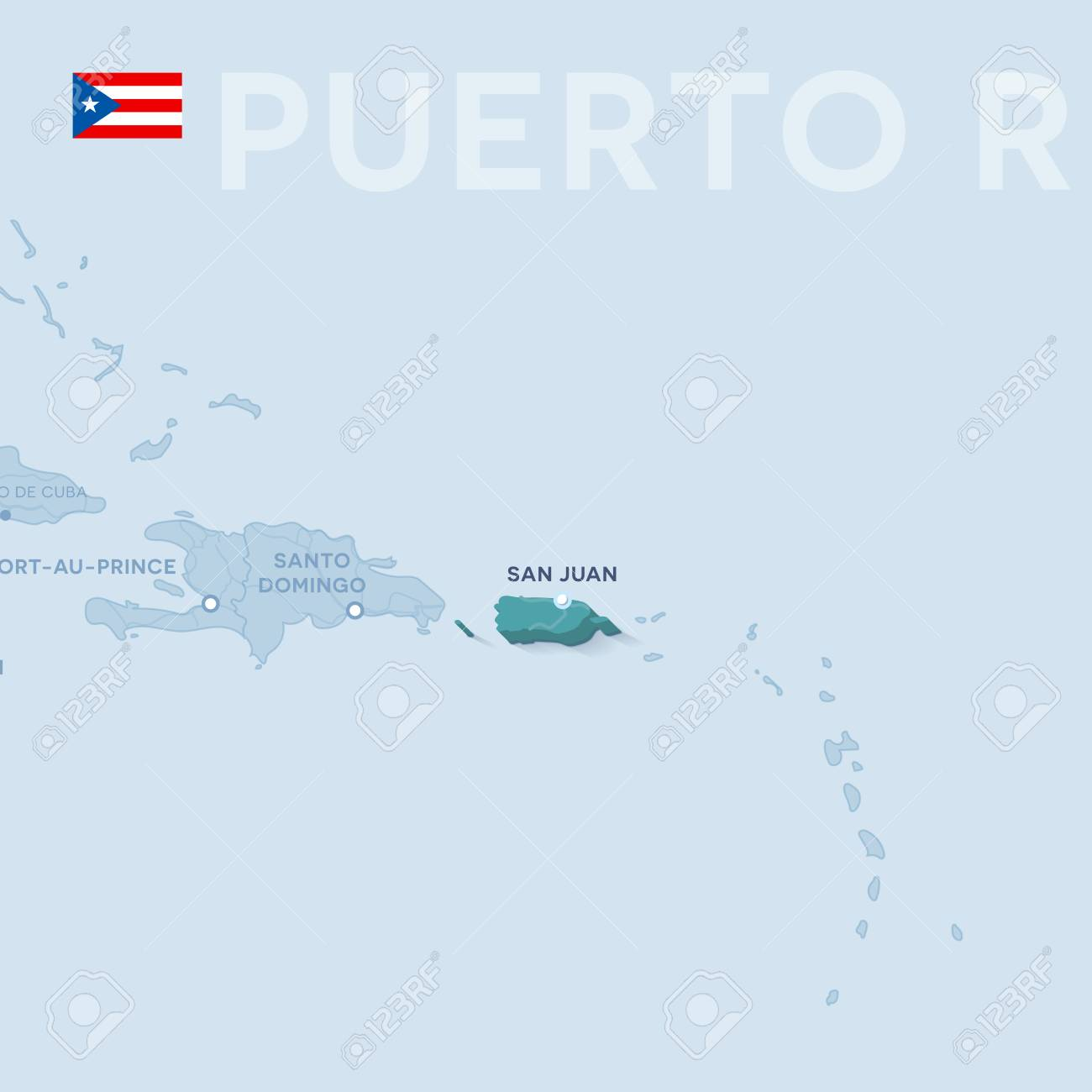 Vector Map of cities and roads in Puerto Rico isolated on light..