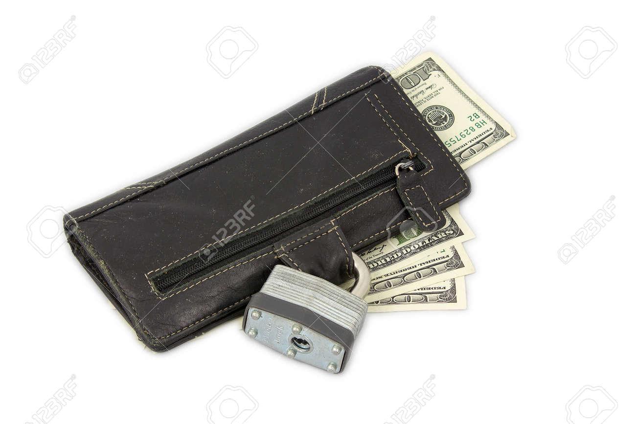 novísimo selección ahorrar cupón doble Bloqueado cartera con billetes de dólar.