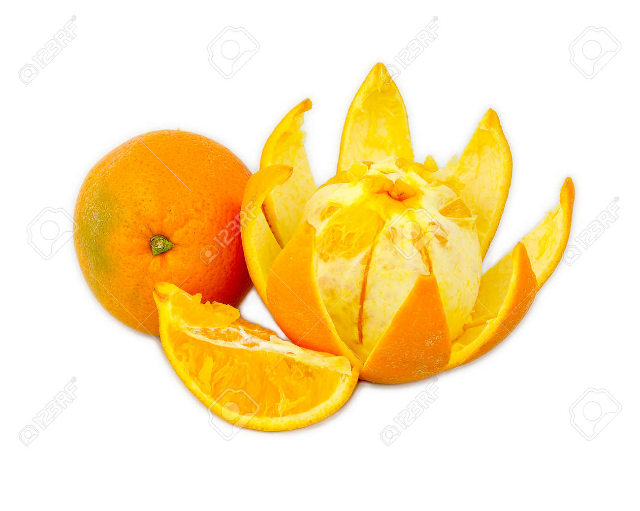 Orange Cut Similar To Lotus Flower Shape Stock Photo Picture And