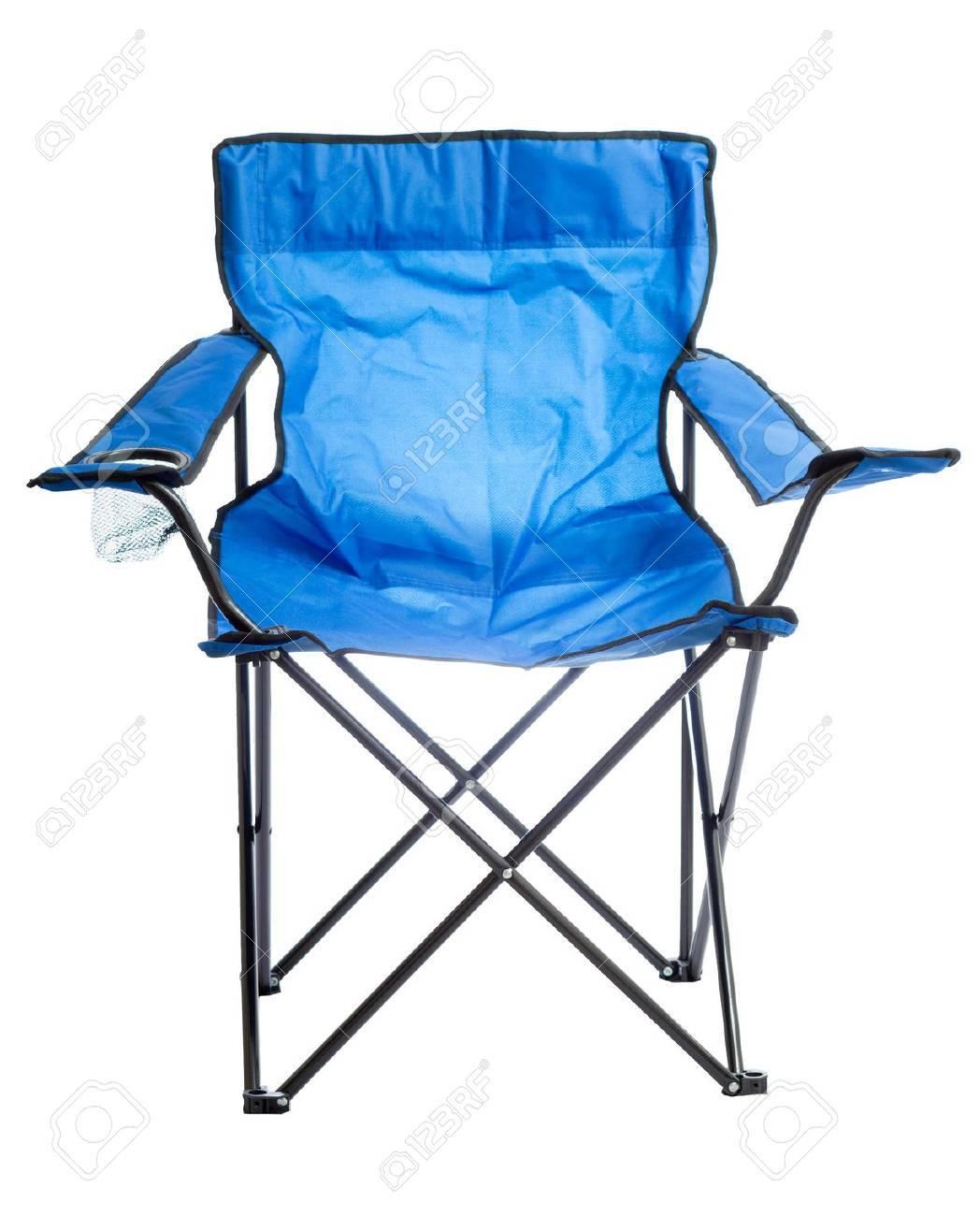 Bleu Chaise Pliante Camp Isol Sur Fond Blanc Banque DImages Et