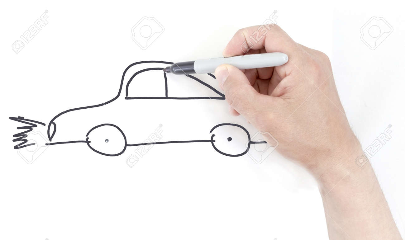 Hand Drawing A Car Sketch On White Paper. Stock Photo, Picture And ...