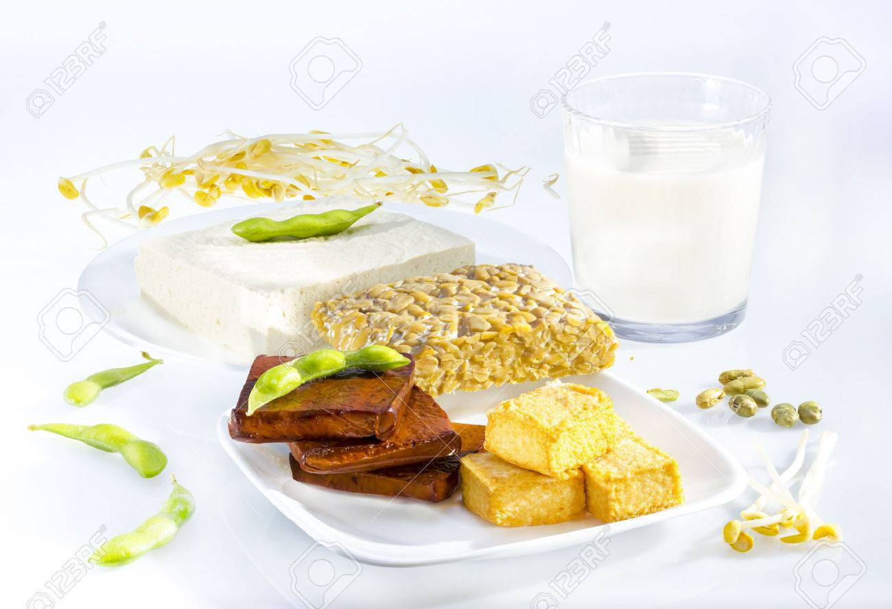Variety of soy products including tofu, tempeh, milk and sprouts. Stock Photo - 23955257