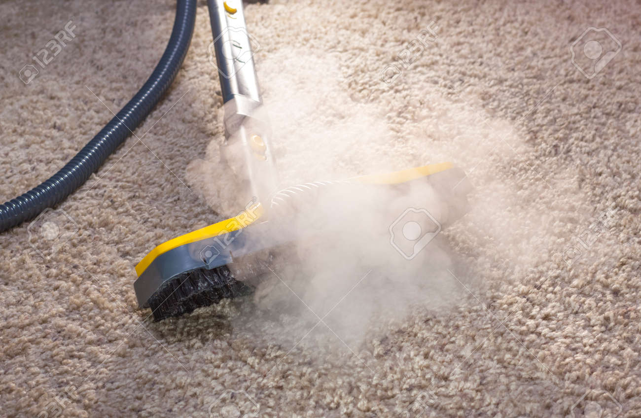 Using dry steam cleaner to sanitize floor carpet. Stock Photo - 24287196