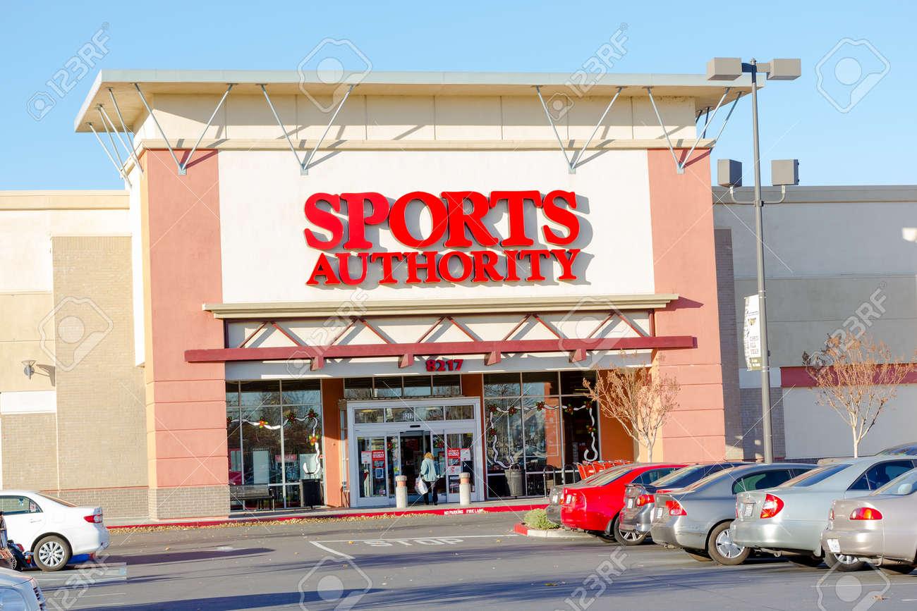 SACRAMENTO, USA - DECEMBER 21: Sports Authority entrance on