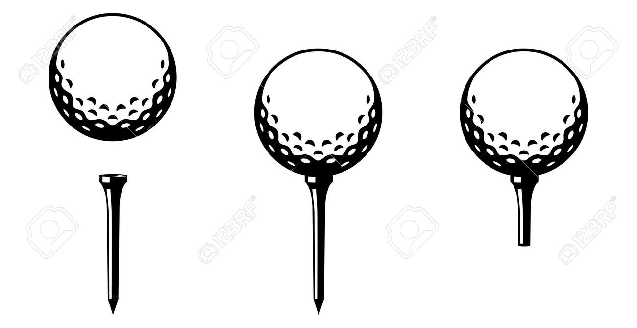 Set Golf Ball On Tee Several Versions Black And White Royalty Free Cliparts Vectors And Stock Illustration Image 116638932