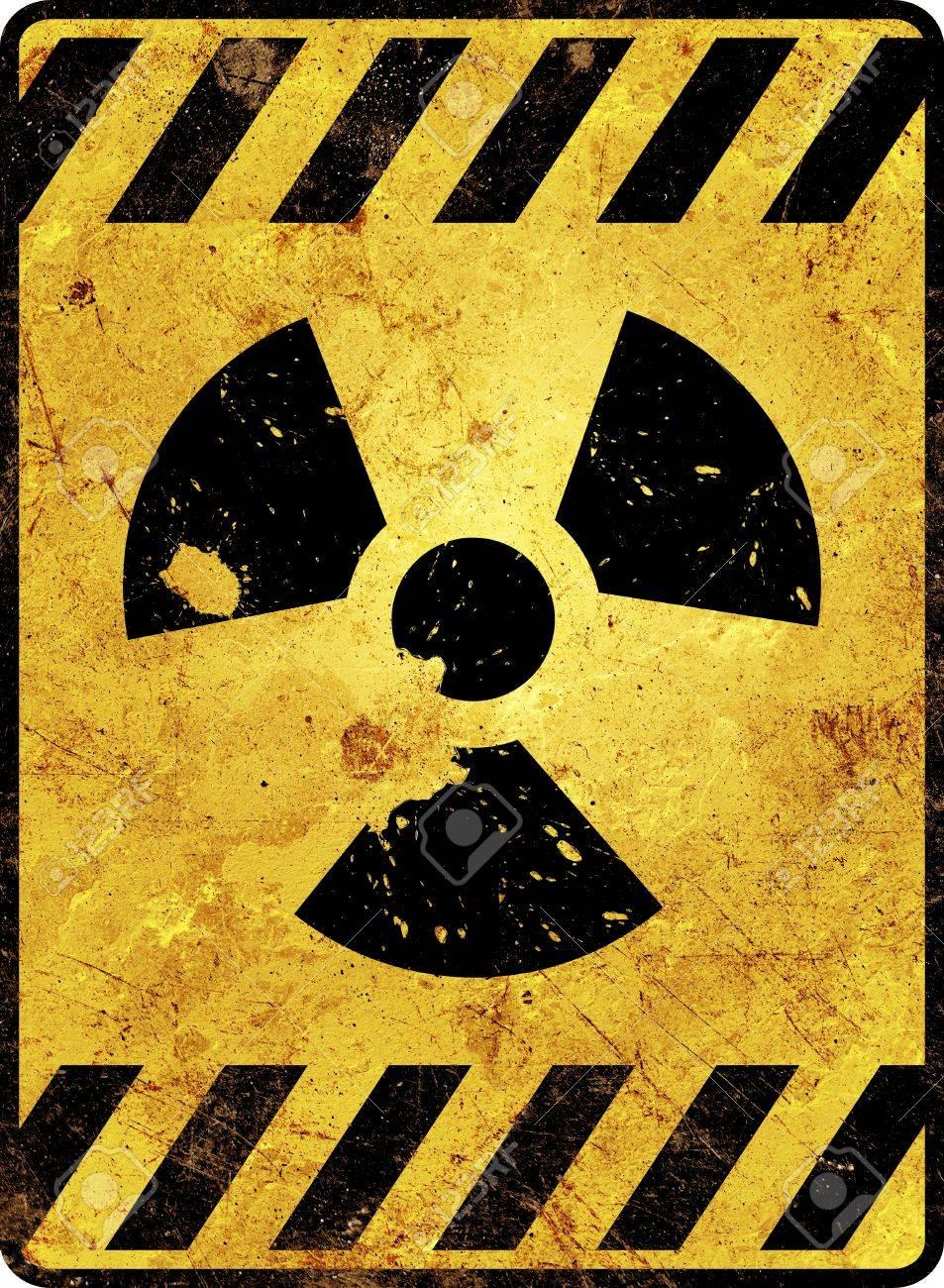 Yellow radioactivity warning sign Stock Photo - 16404060