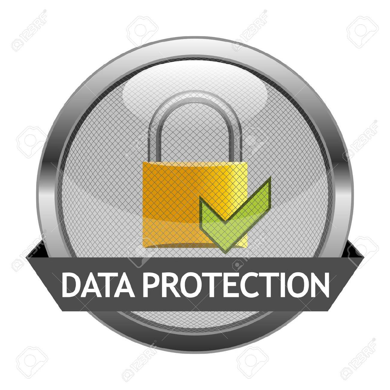 Button Data Protection Stock Vector - 16874329
