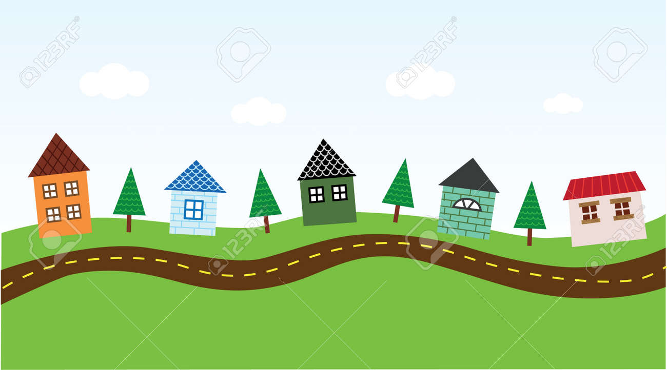 Charming Neighborhood along the Road Stock Vector - 5783946