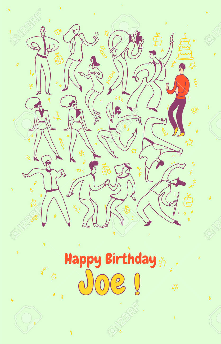 Astonishing Personal Greeting Card Party Dance People Line Vector Personalised Birthday Cards Veneteletsinfo