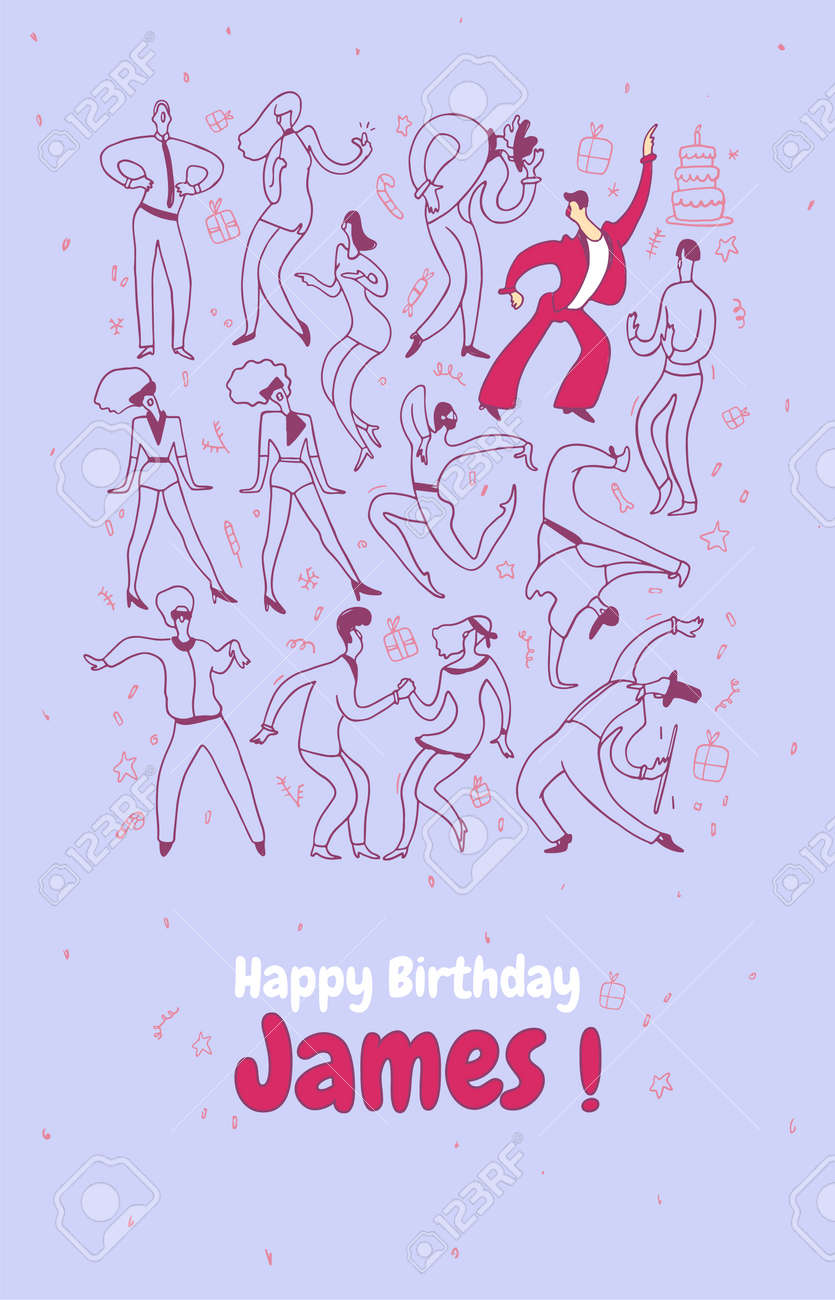 Personal Greeting Card Party Dance People Line Vector Illustration Set Happy Birthday Stock