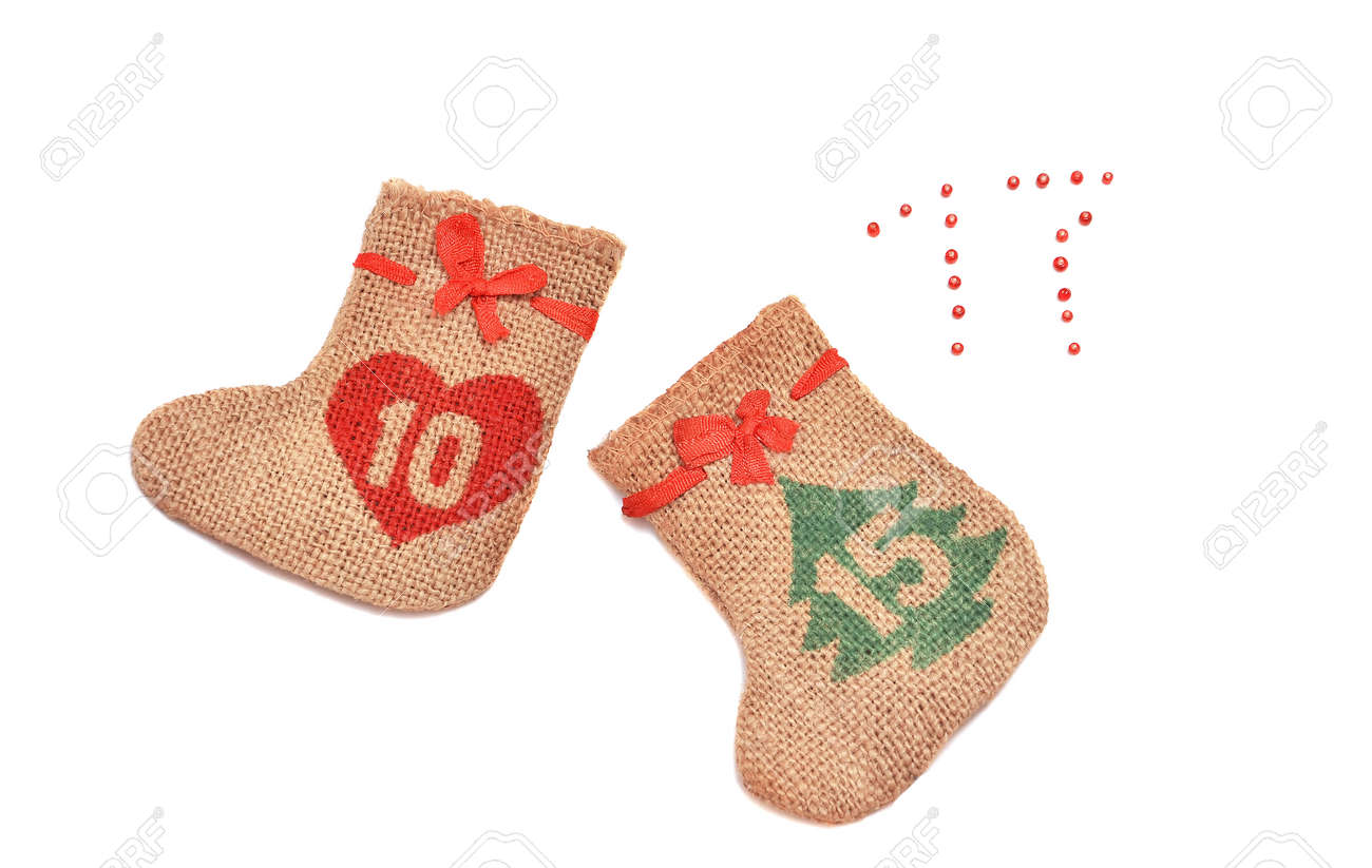 Christmas Stockings With Bows Burlap Isolated On White Background ...