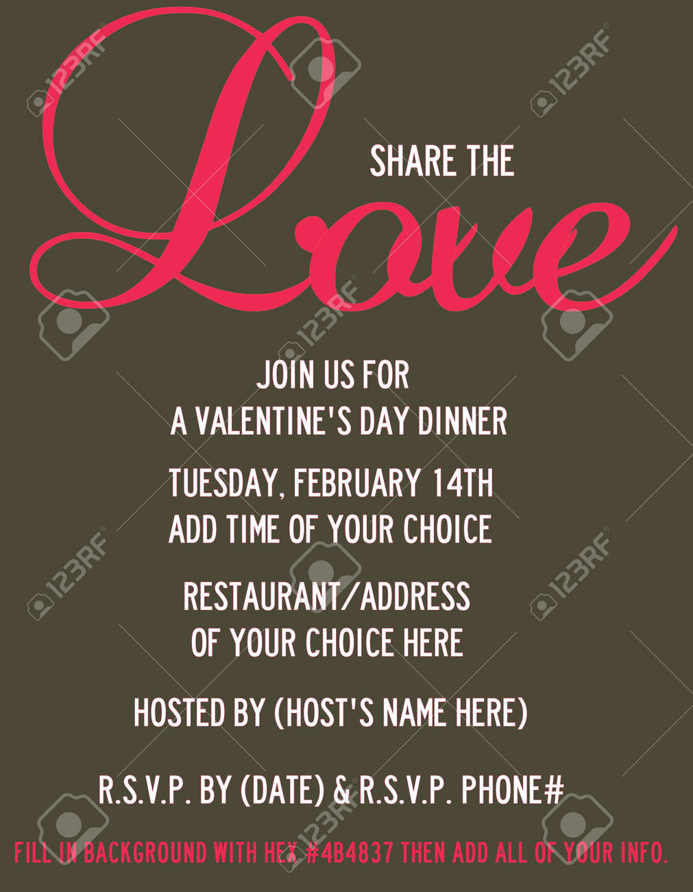 Love V Day Dinner Invite Stock Photo