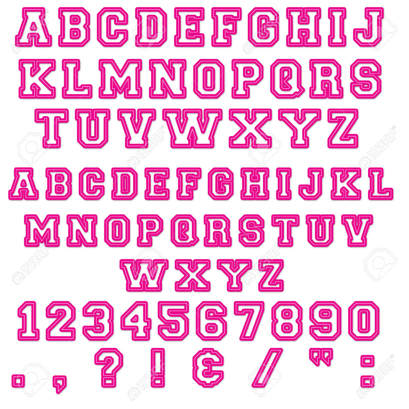 pink block numbers letters stock photo 13060740