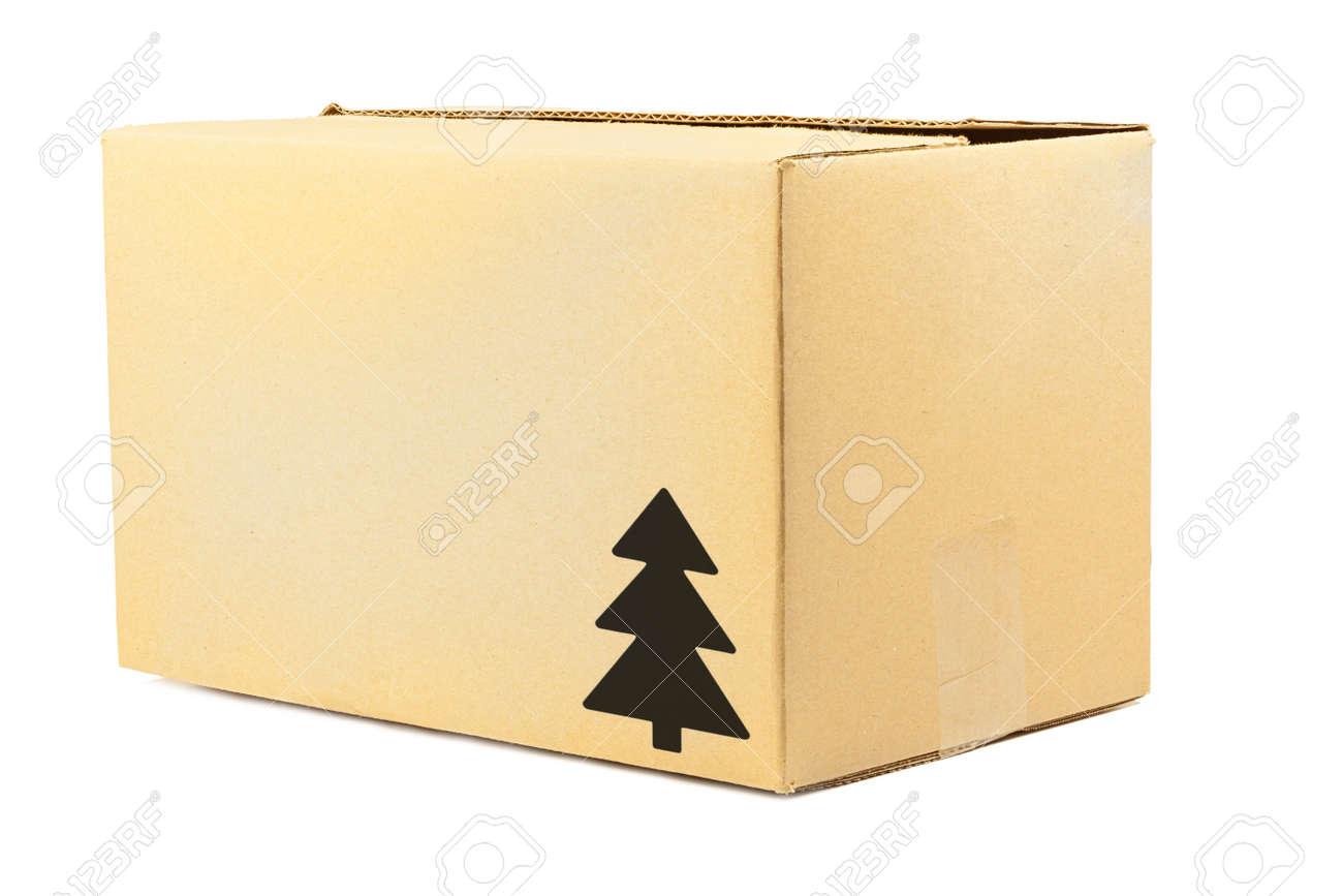 Simple Brown Carton Box With Christmas Tree Symbol Stock Photo