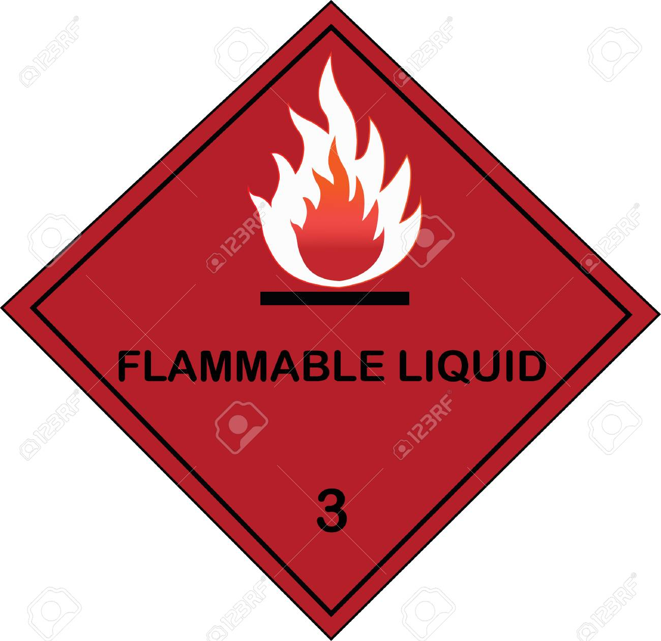 Flammable liquid sign on red isolated background Vector illustration. - 96004028