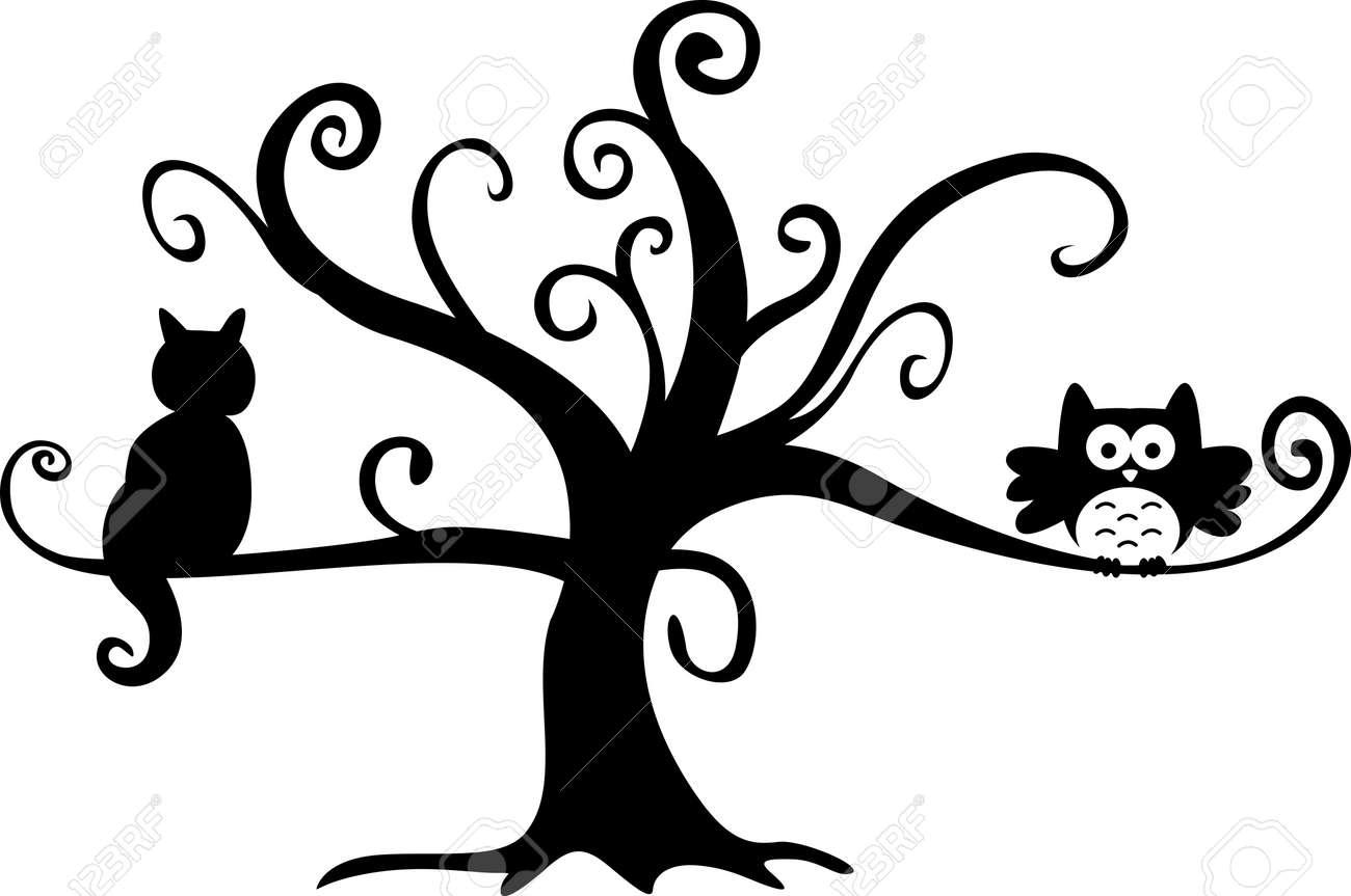 Halloween night owl and cat in tree Stock Vector - 14403053