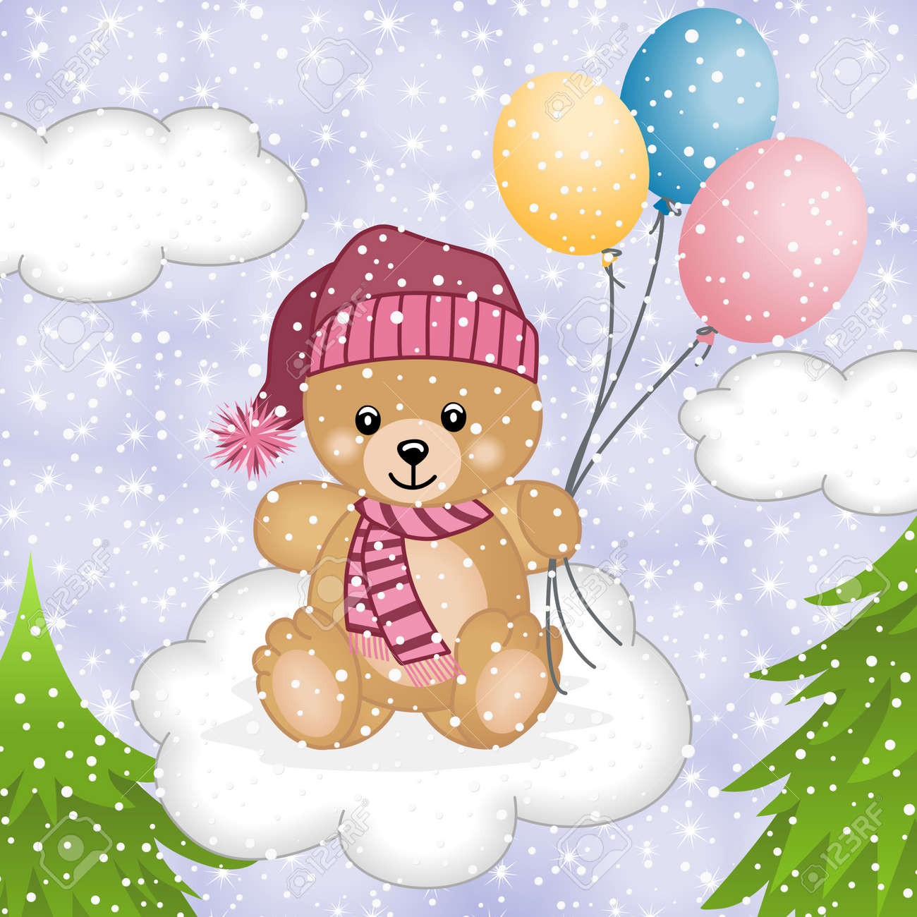 Teddy bear flying balloons in snow Stock Vector - 15328289
