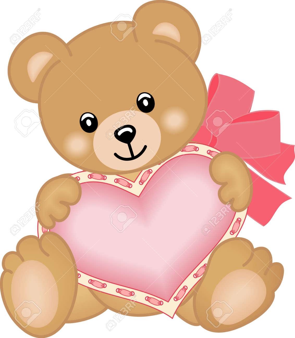 Cute teddy bear with heart Stock Vector - 15572687