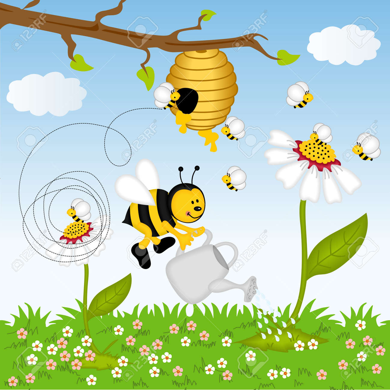 Bee Watering Flower In The Forest Stock Vector