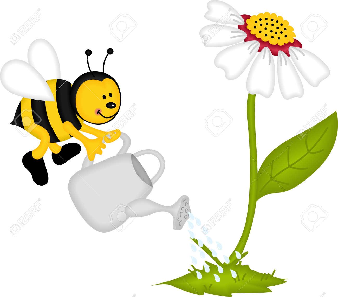 Flower garden cartoon - Bee Watering Flower Stock Vector 16325535
