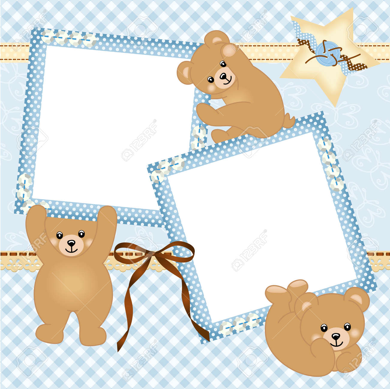 Baby Boy Photo Frame With Teddy Bear Royalty Free Cliparts, Vectors ...