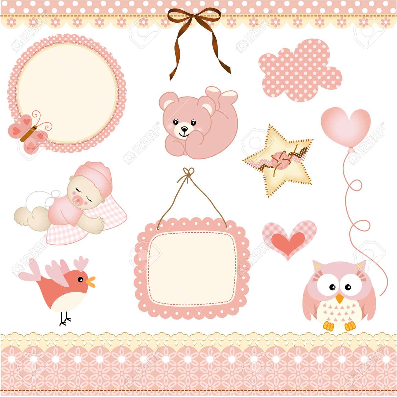 Baby girl design elements - 19877547