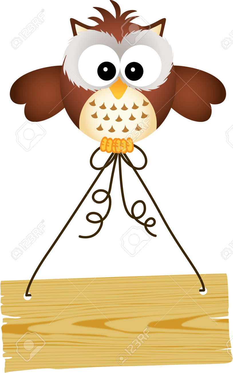 owl holding wooden sign royalty free cliparts vectors and stock  - owl holding wooden sign stock vector