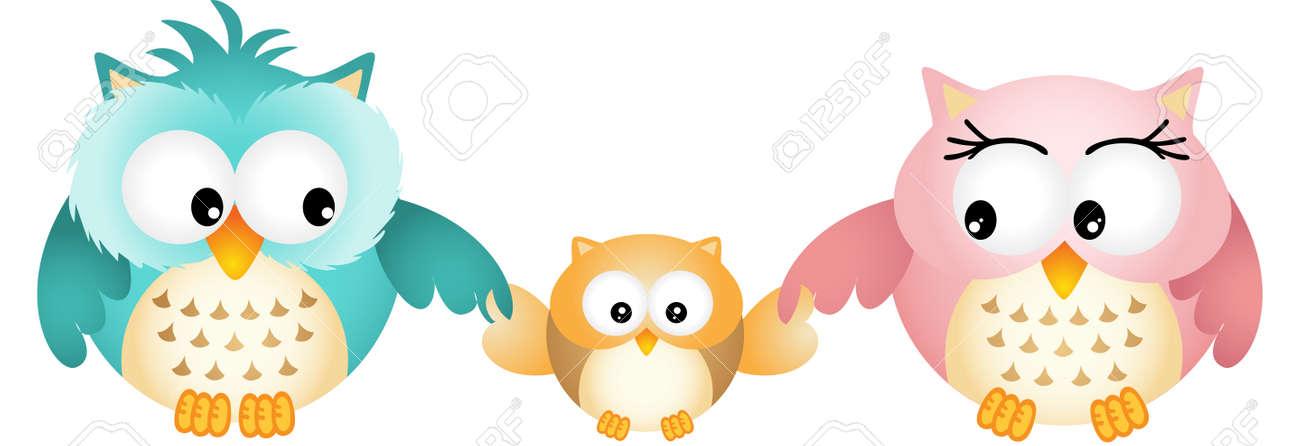 Happy Owl Family - 21261857