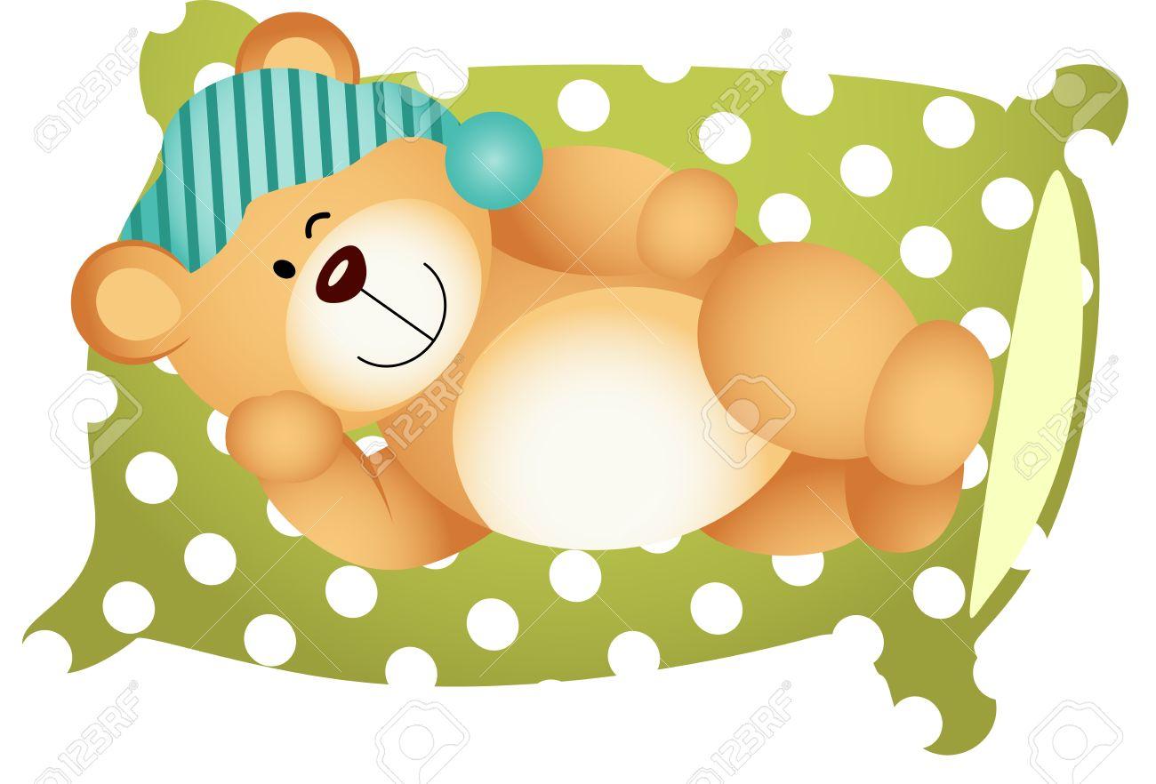 cute pillow clipart. sleeping on pillow cute teddy bear stock vector - 21973857 clipart