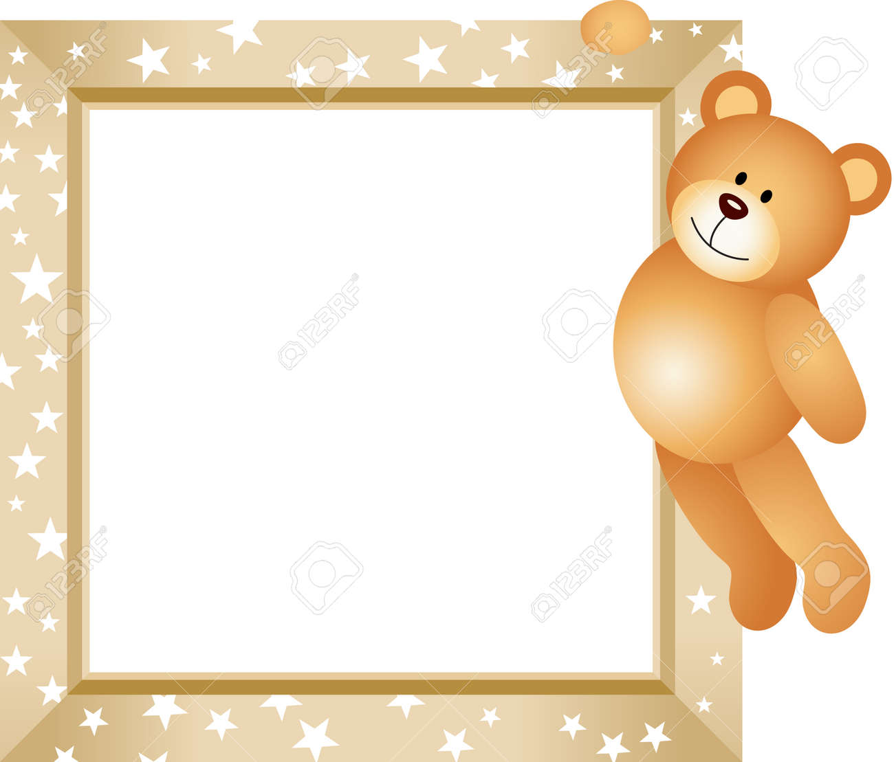Teddy Bear Hanging In The Frame Royalty Free Cliparts, Vectors, And ...