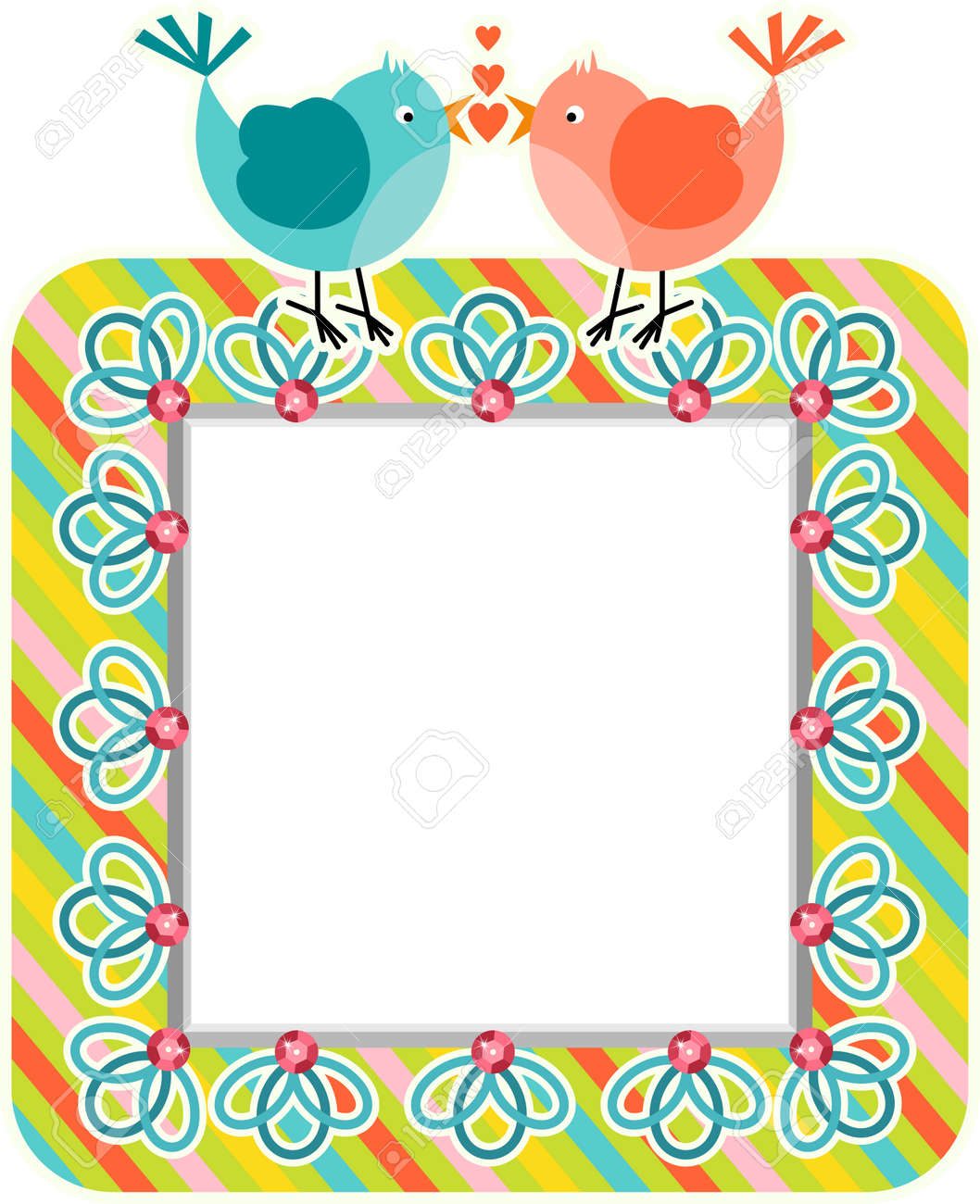 Couple Cute Love Birds Frame Royalty Free Cliparts, Vectors, And ...