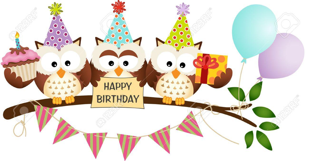 happy birthday owls Cute Three Owls Happy Birthday Royalty Free Cliparts, Vectors, And  happy birthday owls