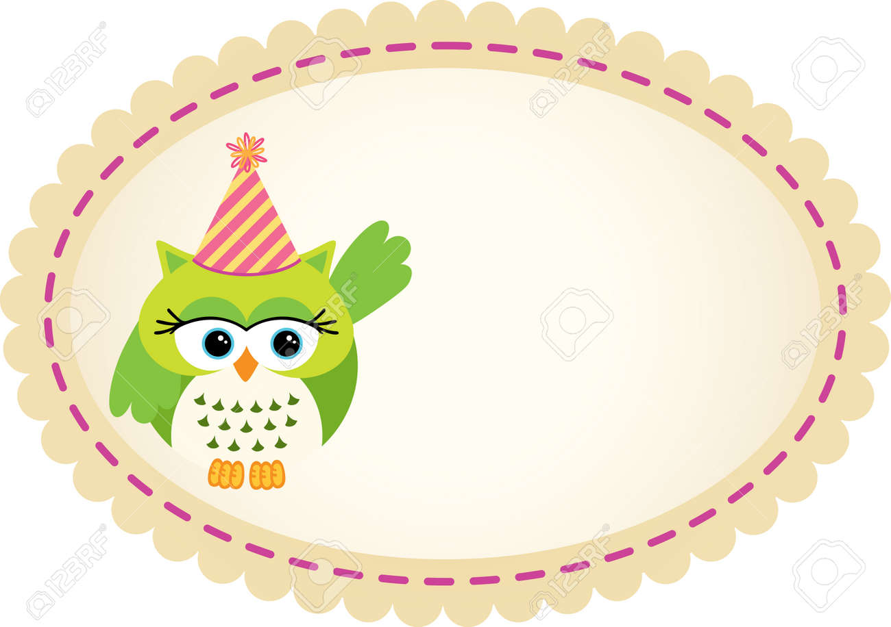 cute owl birthday label royalty free cliparts, vectors, and stock