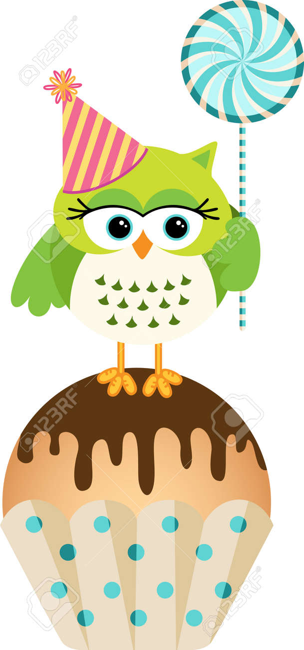 Peachy Owl With Lollipop And Birthday Cake Royalty Free Cliparts Vectors Funny Birthday Cards Online Amentibdeldamsfinfo