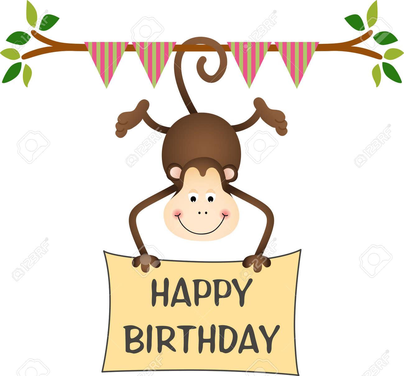 Hangende Affen Alles Gute Zum Geburtstag Zeichen Lizenzfrei