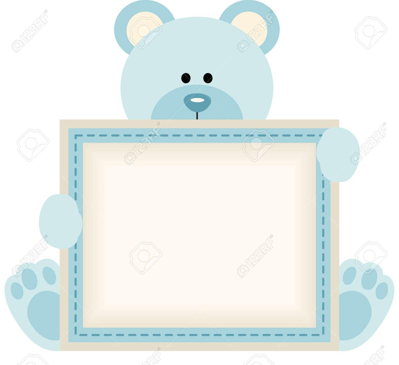 Cute teddy bear holding blank sign for baby boy announcement - 35688236