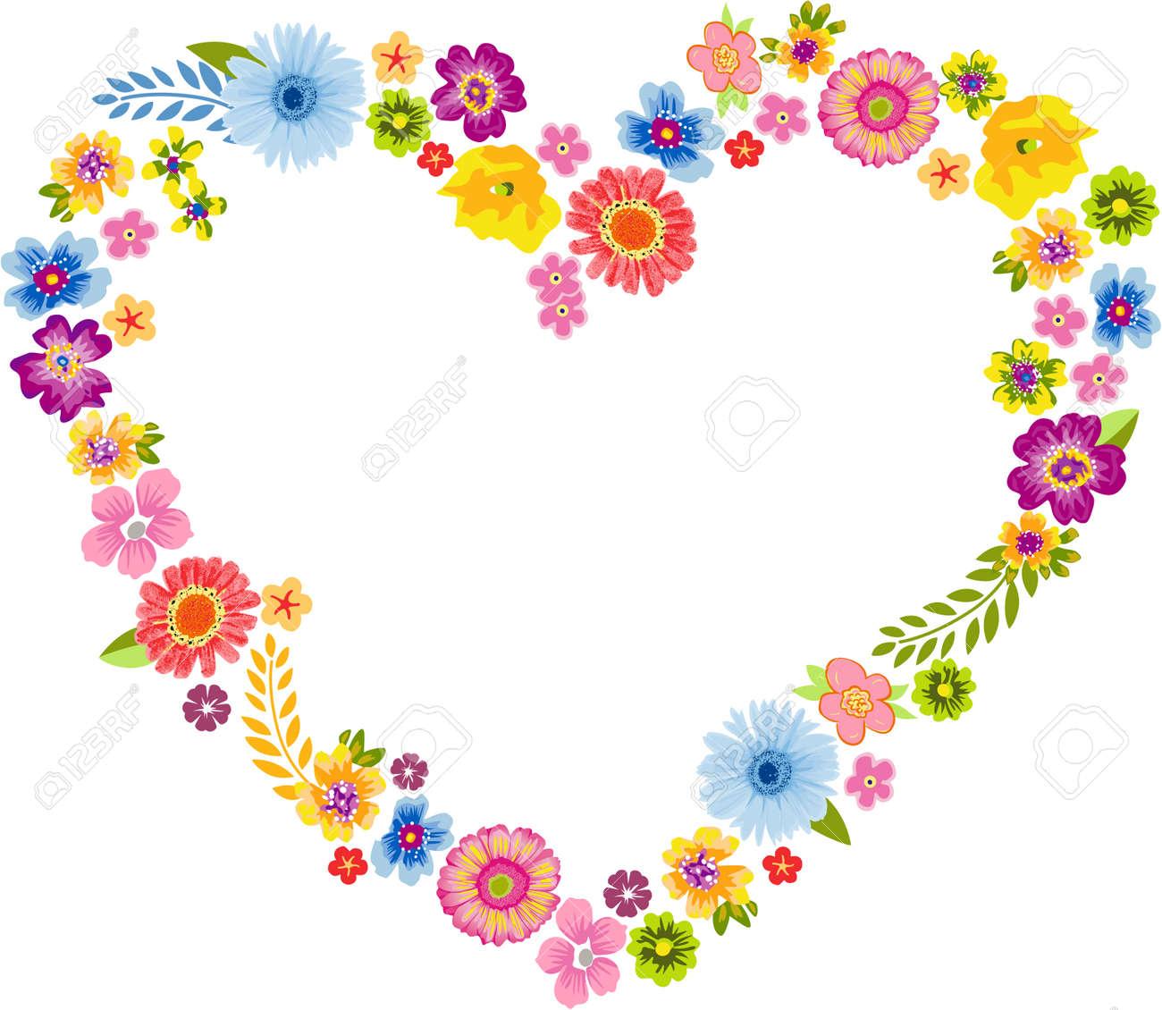 Marco Del Corazón De Flores De Primavera Ilustraciones Vectoriales ...
