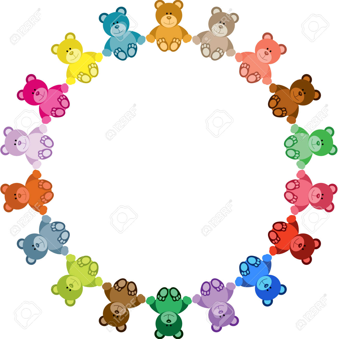 Colored Teddy Bear Round Frame Royalty Free Cliparts, Vectors, And ...