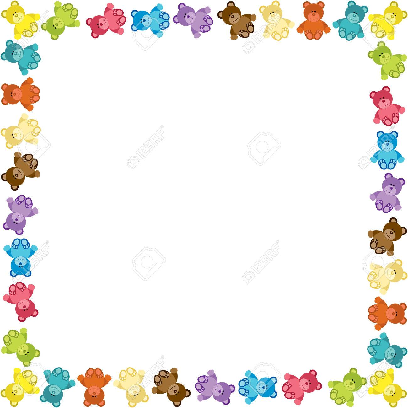 Colored Teddy Bear Frame Royalty Free Cliparts, Vectors, And Stock ...
