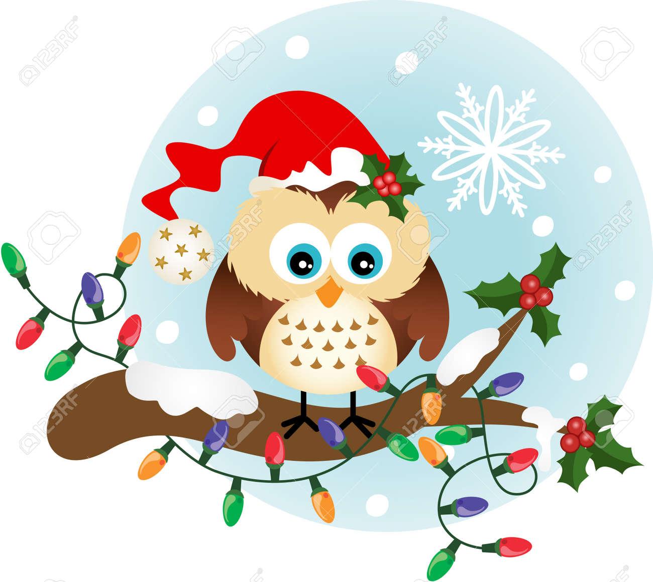 Christmas Owl.Christmas Owl On Holly Branch