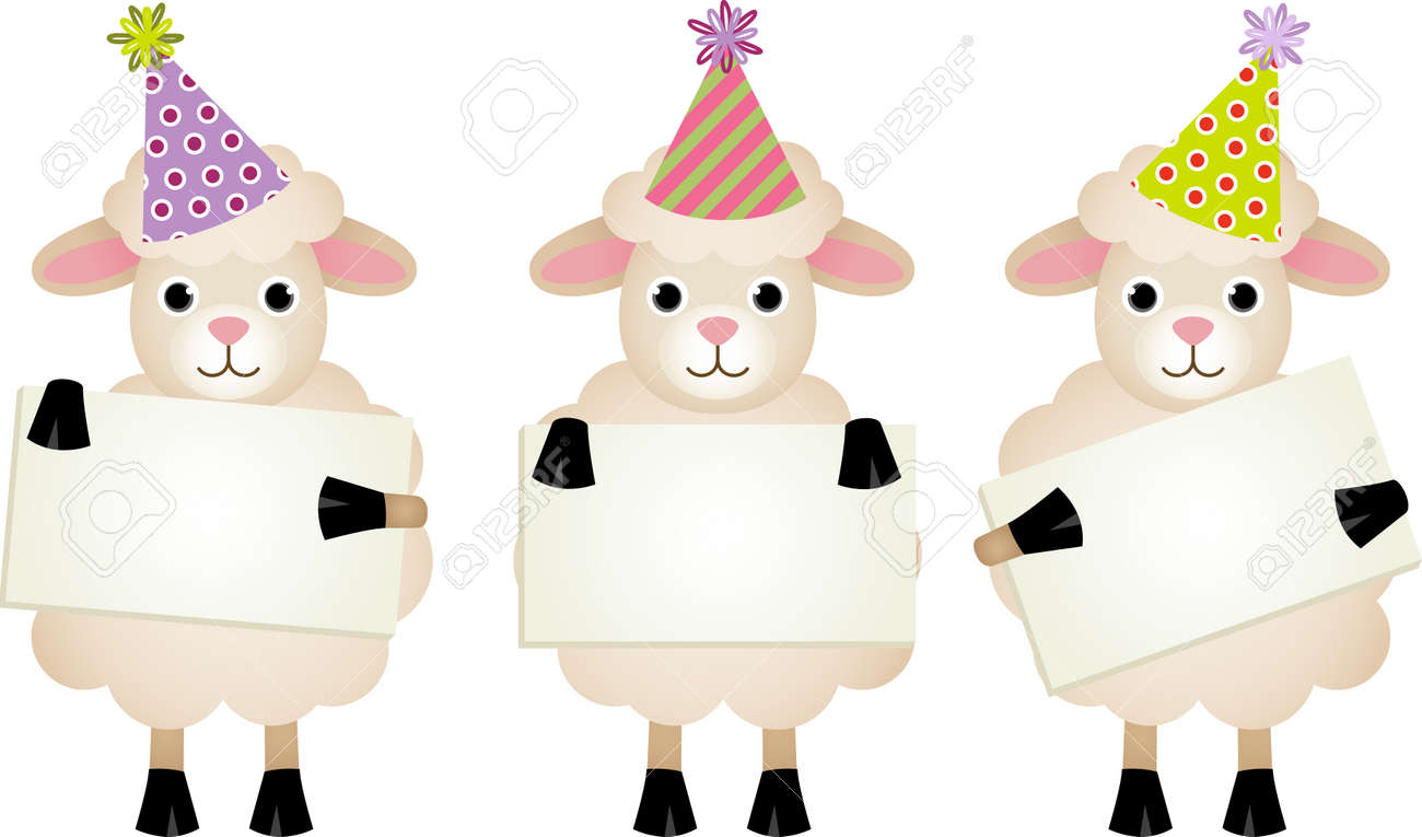 foto de archivo ovejas de cumpleaos con letreros