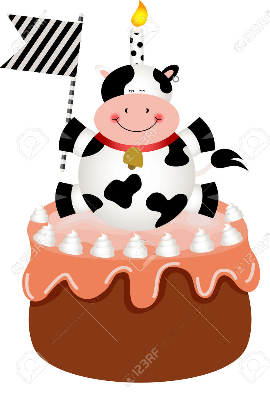 Amazing Funny Cow On Birthday Cake Royalty Free Cliparts Vectors And Funny Birthday Cards Online Overcheapnameinfo
