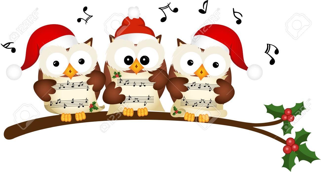 Christmas Singing Images.Christmas Owls Choir Singing
